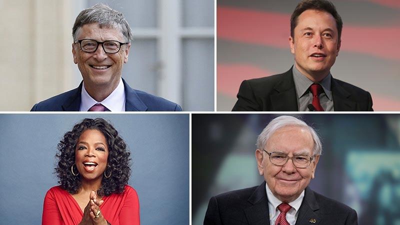 Bill Gates, Elon Musk, Oprah Winfrey och Warren Buffett