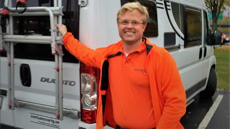 Svetsentreprenören Björn Lindhe som äger och driver företaget Svetsansvarig i Sverige AB