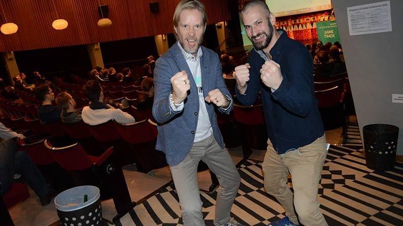 Jag (Christoffer Andersson) med serieentreprenören och eldsjälen bakom LiU Game Conference - Tomas Ahlström. Foto Emil Lundin