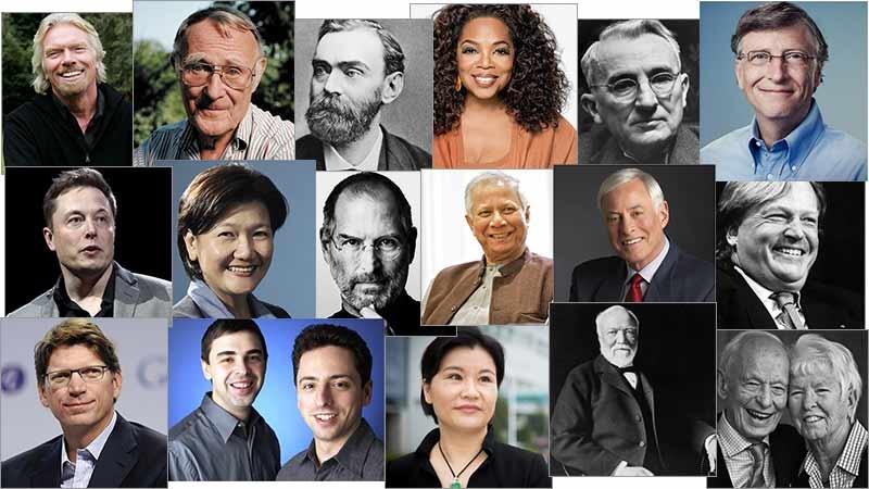 Dale Carnegie, Andrew Carnegie, Sir Richard Branson, Oprah Winfrey, Ingvar Kamprad, Brian Tracy, Muhammad Yunus, Olivia Lum, Zhou Qunfei, Alfred Nobel, Elon Musk, Steve Jobs, Niklas Zennström