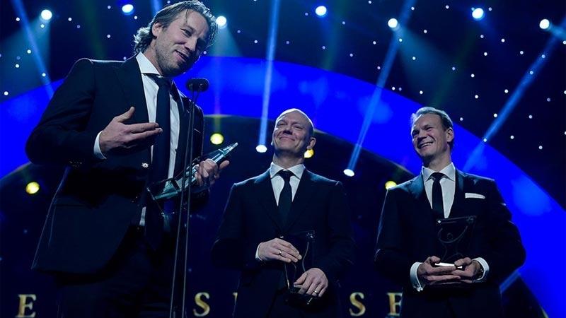 Hockeyproffsen Peter Forsberg, Mats Sundin och Nicklas Lidström fick ta emot Hederspriset. Foto: Joel Marklund/Bildbyrån