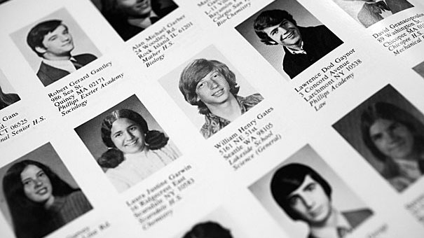 Bill Gates i skolkatalogen från Harvard. Courtesy of Harvard Yearbook Publications