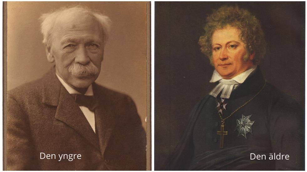 Porträtt av Esaias Tegnér den yngre och den äldre.