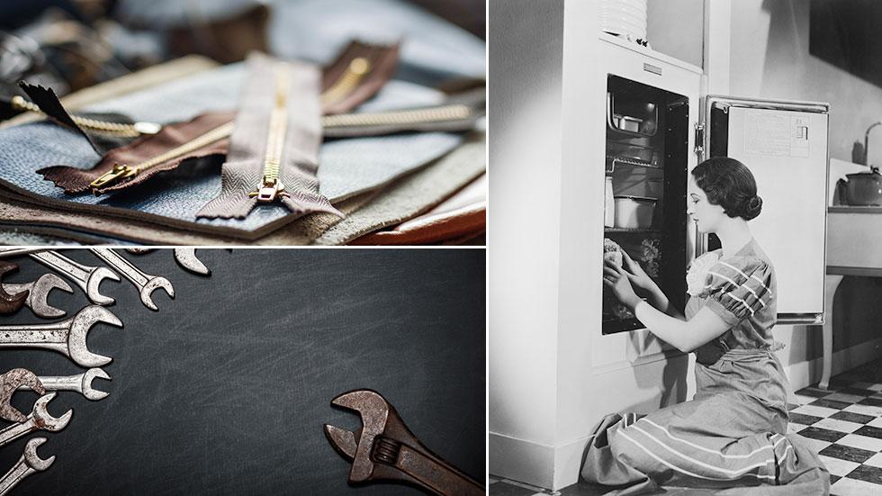 Tre svenska uppfinningar: Blixtlåset, skiftnyckeln och kylskåpet.