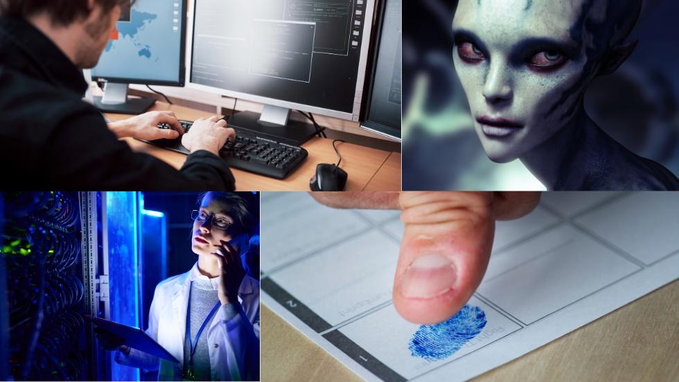"""Foto av Envato: collage på en """"marsmänniska"""", hackare, IT-tekniker och väljare"""