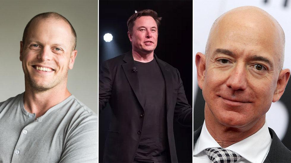 fr.v. Tim Ferriss, Elon Musk och Jeff Bezos