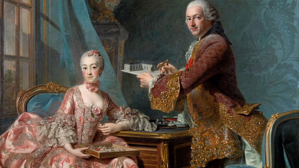 Porträtt av arkitekten Jean-Rodolphe Perronet med hustru från senare delen av 1700-talet, målad av Alexander Roslin.