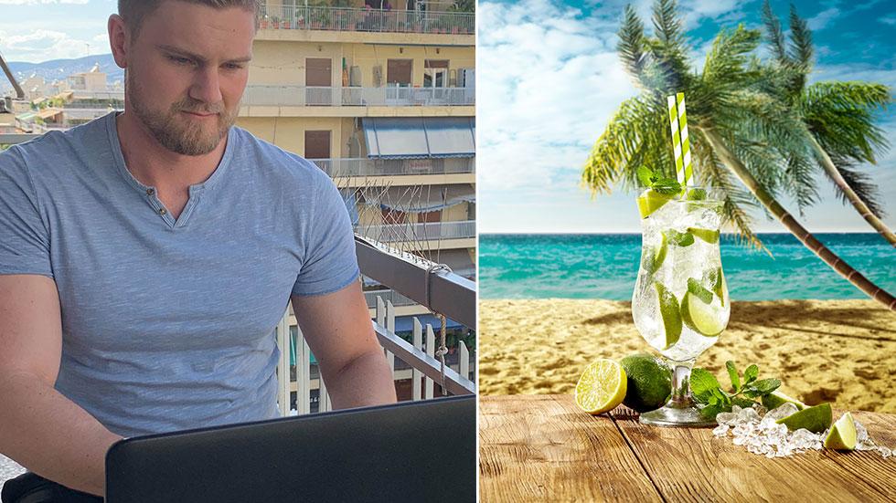 En laptop i knät på en strand med en drink i handen är en vanlig kliché