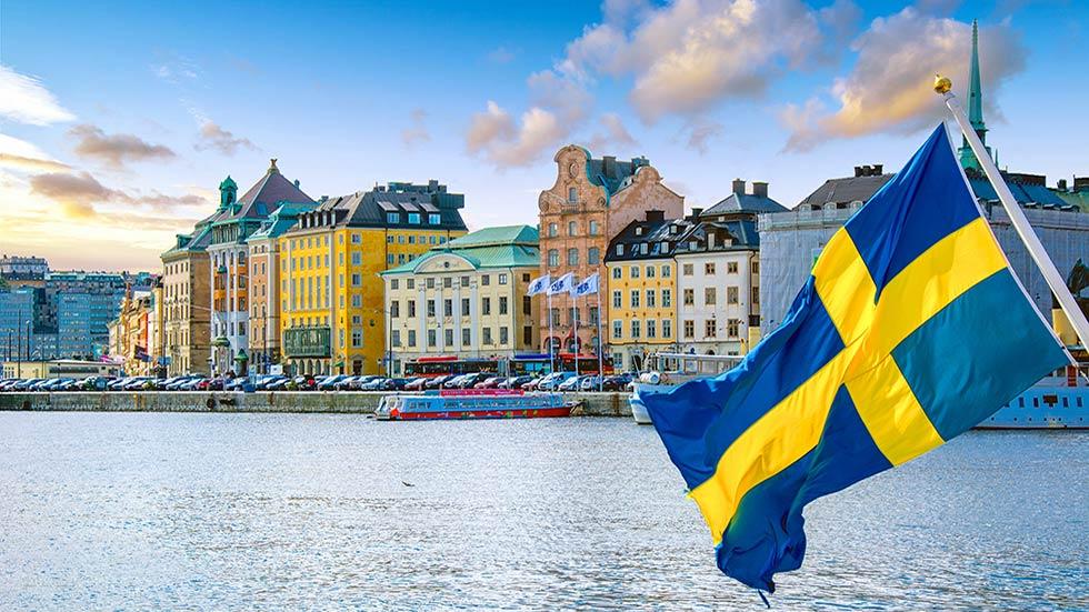 Stockholm och svenska flaggan
